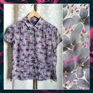 {AnnTaylor}Sheer Purple Floral 100% Silk Blouse 8
